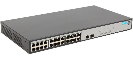 Фото - Коммутатор HP 1420-24G-2S управляемый 24 порта 10/100/1000Mbps 2xSFP JH018A коммутатор tp link t1500 28pct управляемый 24 порта 10 100 mbps 24x7 5w poe 4x10 100 1000mbps 2xsfp