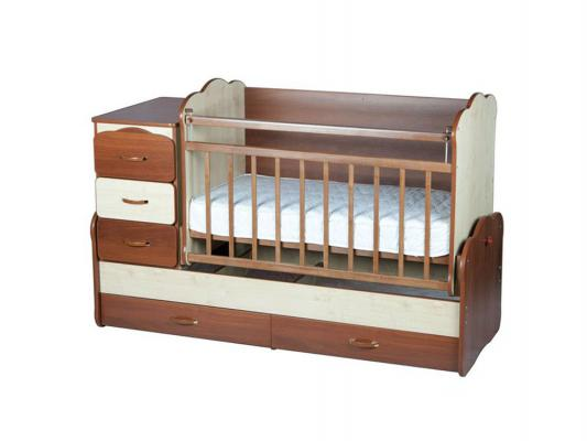 Кроватка-трансформер с маятником Оле Лукойе 100060 (комбо орех/клен)