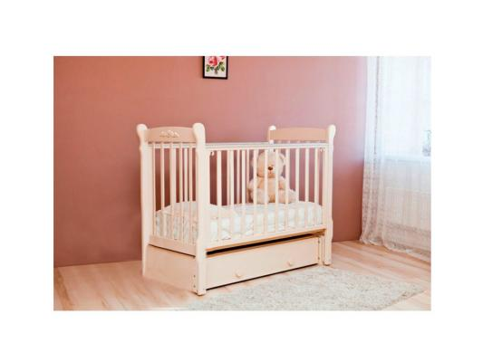 Кроватка с маятником Красная Звезда Артем (слоновая кость/накладка №6) кроватка с маятником красная звезда артем белый накладка 6