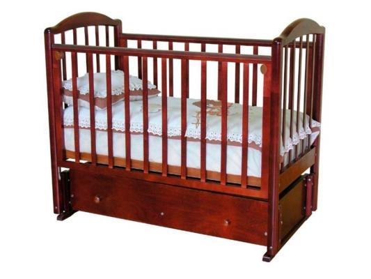 Кроватка с маятником Красная Звезда Регина (красно-коричневый/накладка №23)