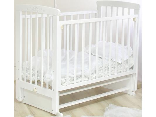 Кроватка с маятником Красная Звезда Марина (белая/резьба №15)