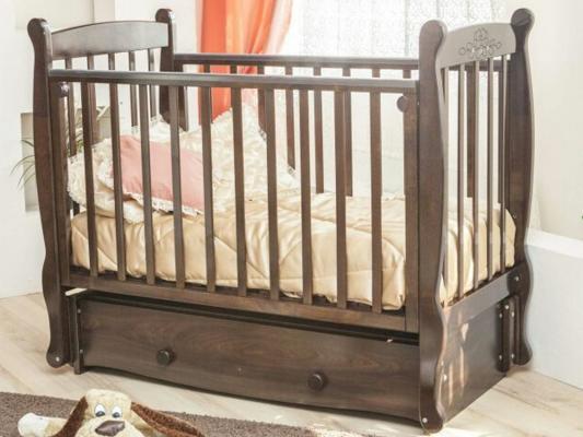 Кроватка с маятником Красная Звезда Елисей (шоколад/ резьба со стразами №10 птички)