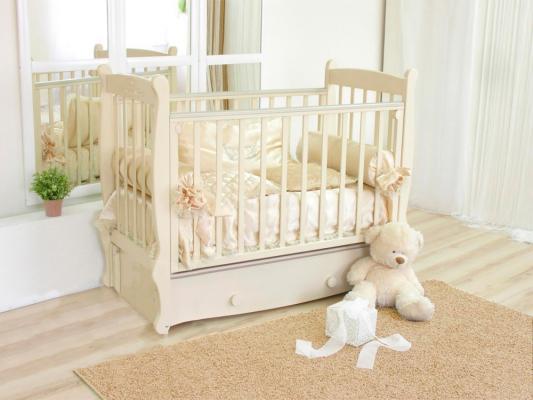 Кроватка с маятником Красная Звезда Елисей (слоновая кость/резьба со стразами №10 птички) кроватка с маятником sweet baby eligio avorio слоновая кость