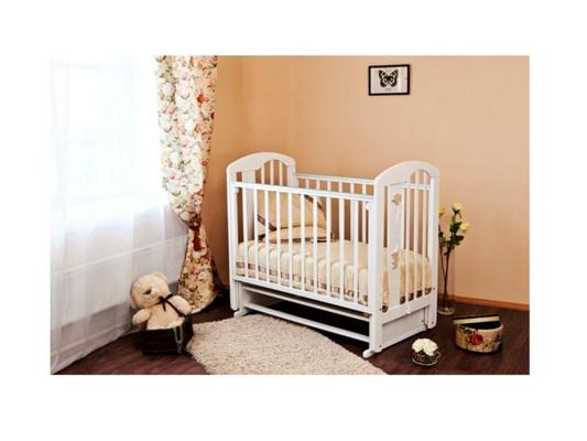 Кроватка с маятником Красная Звезда Агата С718 (белая/накладка-ростомер №11) обычная кроватка красная звезда агата с718 шоколад