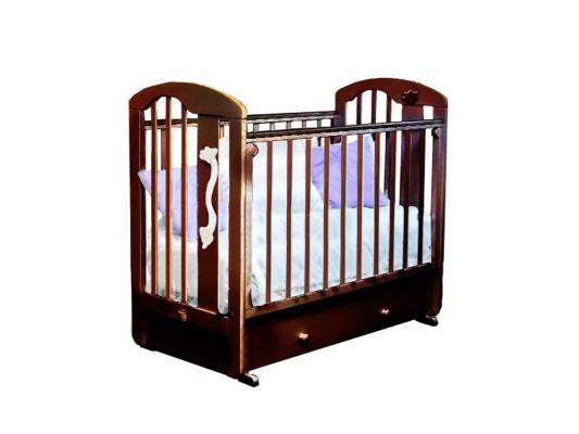 Кроватка с маятником Красная Звезда Агата С719 (шоколад/накладка-ростомер №11) кроватка с маятником красная звезда агата с718 белая накладка ростомер 11