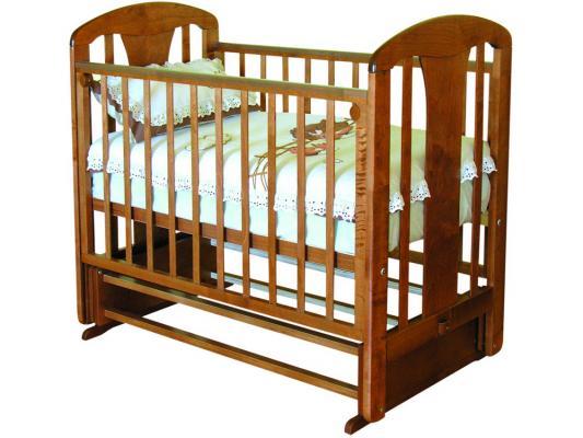 Кроватка с маятником Красная Звезда Виталина (красно коричневый/накладка №28/мама)