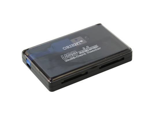 Картридер внешний ORIENT CR-305 2xSD/SDHC 2xmicroSD/T-Flash USB 3.0 черный
