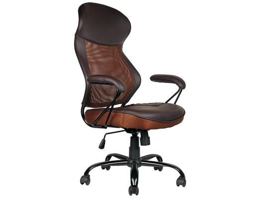 Кресло руководителя College HLC-0370 экокожа крестовина хром/металл подлокотники пластик коричневый кресло college h 8078f 5 ткань офисное крестовина хромированный металл подлокотники пластик коричневый