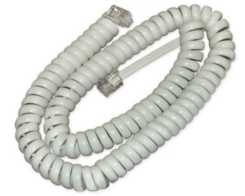Шнур телефонный REXANT витой трубочный белый 4м 18-2041