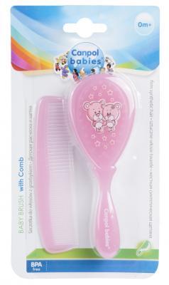 Купить Щетка Canpol жесткая и расческа для волос 2/419 розовый, Детские ножницы и расчески