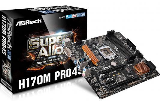 Мат. плата для ПК ASRock H170M Pro4S Socket 1151 H170 4xDDR4 2xPCI-E 16x 2xPCI-E 1x 6xSATAIII mATX Retail