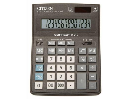 Калькулятор Citizen Correct D-314 14-разрядный черный