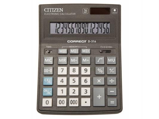 Калькулятор Citizen Correct D-316 16-разрядный черный калькулятор citizen sdc 554s 667496