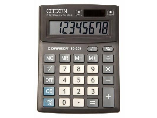 Калькулятор Citizen Correct SD-208 8-разрядный черный калькулятор citizen sdc 554s 667496