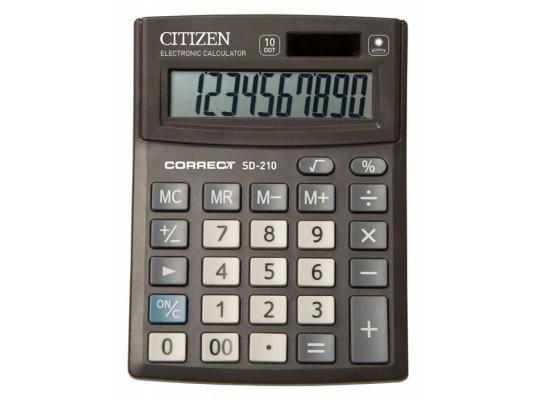 Калькулятор Citizen Correct SD-210 10-разрядный черный калькулятор citizen sdc 554s 667496