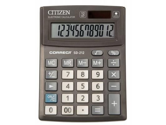 Калькулятор Citizen Correct SD-212 12-разрядный черный citizen correct d 316