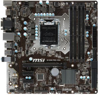 Мат. плата для ПК MSI H170M PRO-VDH Socket 1151 H170 4xDDR4 1xPCI-E 16x 2xPCI 6xSATAIII mATX Retail
