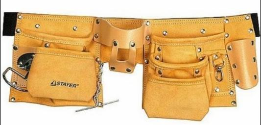 Пояс для инструмента Stayer Master 10 карманов 3 подвески кожа 38512
