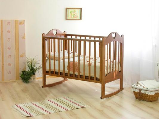 Кроватка-качалка Красная Звезда Любаша С635 (красно-коричневый) обычная кроватка красная звезда ирина с625 красно коричневая