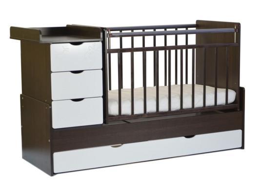 Кроватка-трансформер с маятником СКВ-5 (жираф/венге-белый/540038-1)