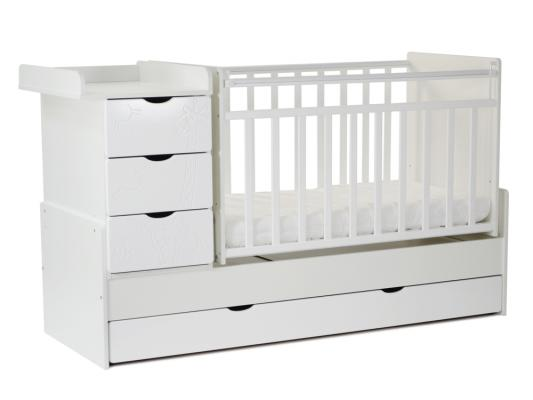 Кроватка-трансформер с маятником СКВ-5 (жираф/белый/540031) цена