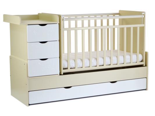 Кроватка-трансформер с маятником СКВ-5 (жираф/бежевый-белый/540039-1)