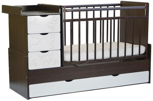 Кроватка-трансформер с маятником СКВ-5 (жираф/венге+кожа молочный/540038-110/2 коробки)