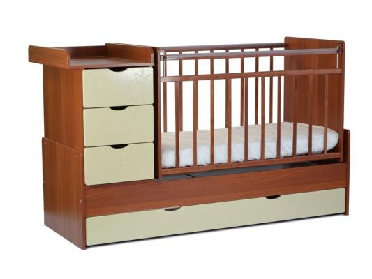 Кроватка-трансформер с маятником СКВ-5 (жираф/орех+кожа молочный/540037-110)