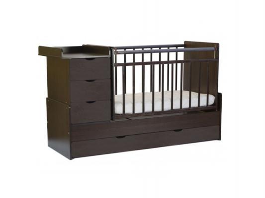 Кроватка-трансформер с маятником СКВ-5 (бабочки/венге+риф шоколад/542038-308)