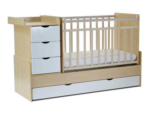 Кроватка-трансформер с маятником СКВ-5 (жираф/береза+белый/540035-1)