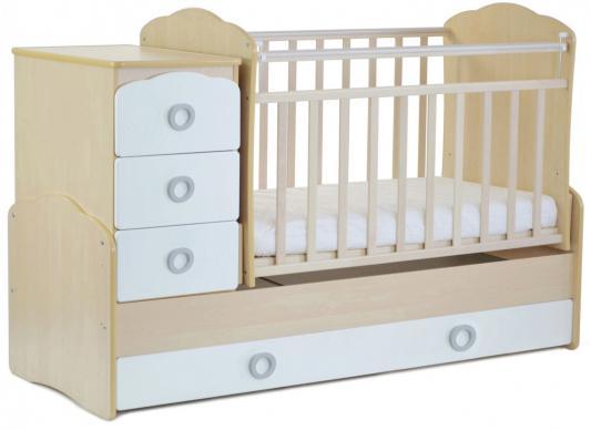 Кроватка с маятником СКВ-9 (береза-белый/фасад птички/941035-1)