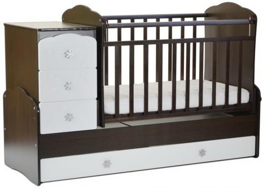 Кроватка с маятником СКВ-9 (венге-белый/фасад жираф/940038-1) цена