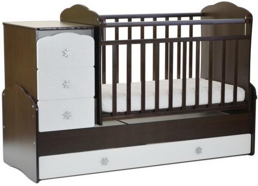 Кроватка с маятником СКВ-9 (венге-белый/фасад птички/941038-1)