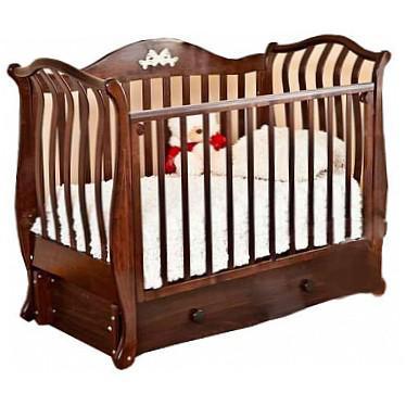 Кроватка с маятником Красная Звезда Юлиана С757 (шоколад/ резьба №8/№10 птички)
