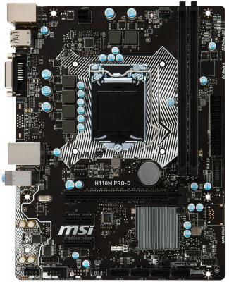 Мат. плата для ПК MSI H110M PRO-D Socket 1151 H110 2xDDR4 1xPCI-E 16x 2xPCI-E 1x 4 mATX Retail материнская плата msi h110m pro vd