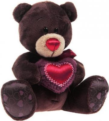Мягкая игрушка медведь Orange Choco с сердцем искусственный мех текстиль коричневый 25 см C003/25