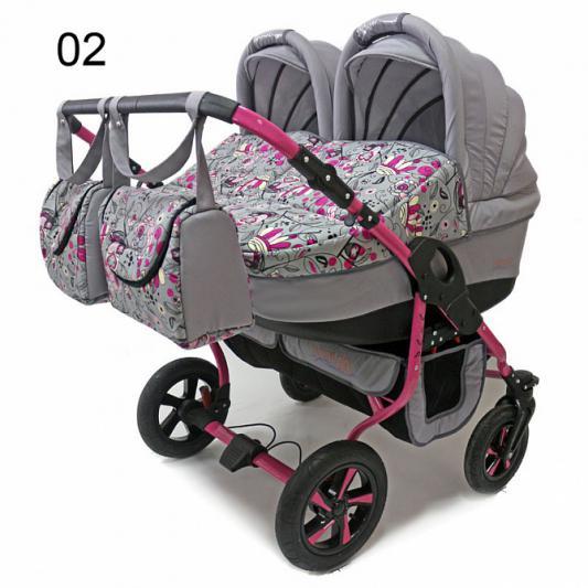 Коляска 2-в-1 для двоих детей Polmobil Viva (02/серый-розовый)