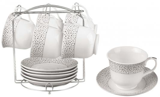 Чайный набор Bekker BK-6804 белый рисунок серебристый 0.220 л керамика