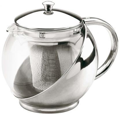 Чайник заварочный Bekker 303-ВК серебристый 0.9 л металл/пластик чайник заварочный bekker 308 вк 1 25 л пластик стекло фиолетовый