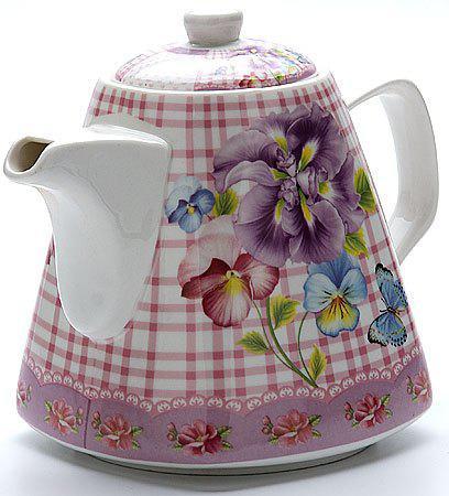 Чайник заварочный Loraine 22966-LR розовый рисунок 1.1 л керамика