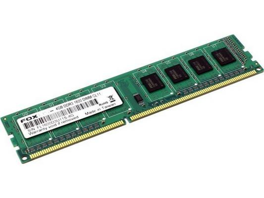 Оперативная память 4Gb (1x4Gb) PC3-12800 1600MHz DDR3 DIMM CL11 Foxline FL1600D3U11S-4GH оперативная память 8gb pc3 12800 1600mhz ddr3 dimm foxline fl1600d3u11l 8g