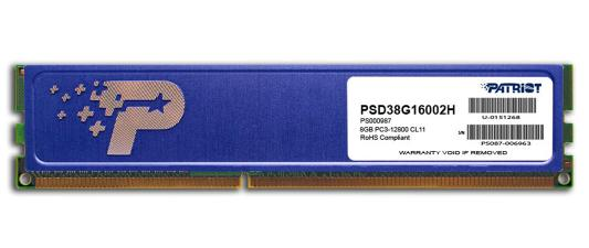 Оперативная память 8Gb PC3-12800 1600MHz DDR3 DIMM Patriot PSD38G16002H оперативная память 8gb pc3 12800 1600mhz ddr3 dimm corsair vengeance 10 10 10 27 cmz8gx3m1a1600c10