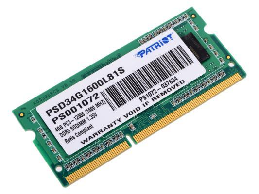 купить Оперативная память для ноутбука 4Gb (1x4Gb) PC3-12800 1600MHz DDR3 SO-DIMM CL11 Patriot PSD34G1600L81S онлайн