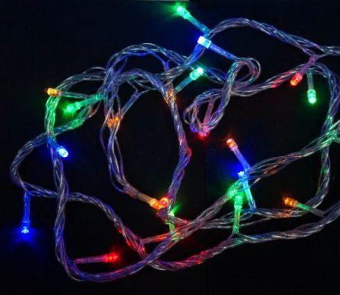 Гирлянда электрическая 100LED цветного свечения, прозрачный провод 8м, 8 режимов 971027