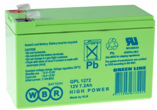 Батарея WBR GPL 1272 12V/7.2AH увеличенный срок службы до 10 лет