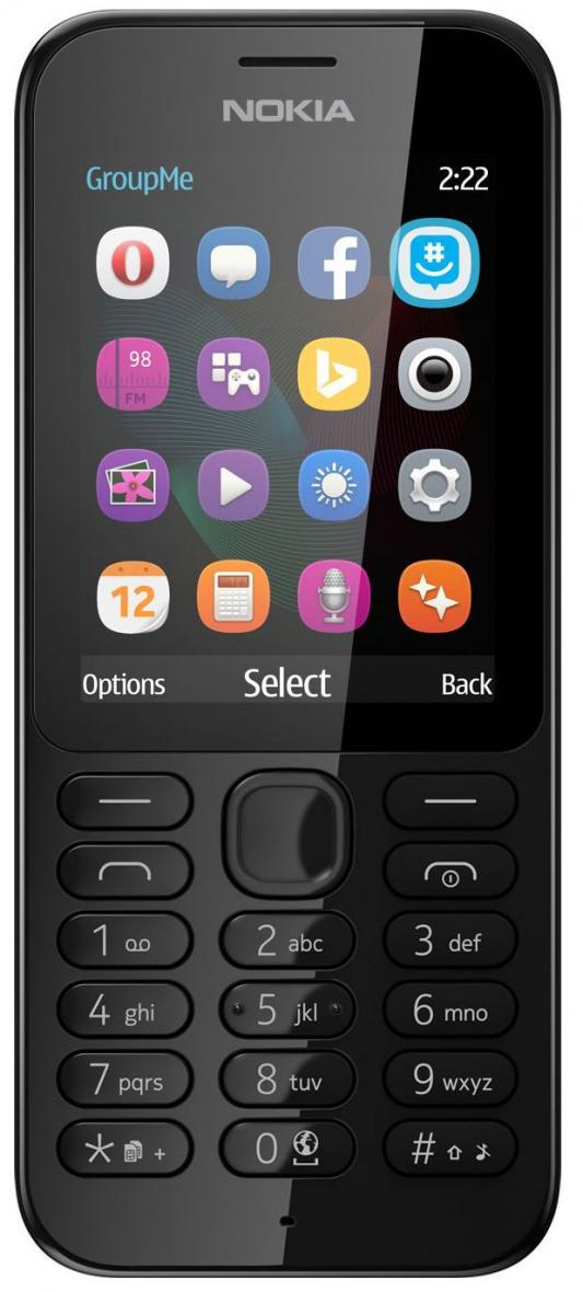 """Мобильный телефон NOKIA 222 Dual Sim черный 2.4"""" 16 Мб A00026178"""