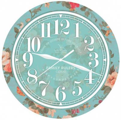 Часы настенные Вега П 1-239/7-239 бирюзовый рисунок часы настенные вега п 4 14 7 86 новогодние подарки