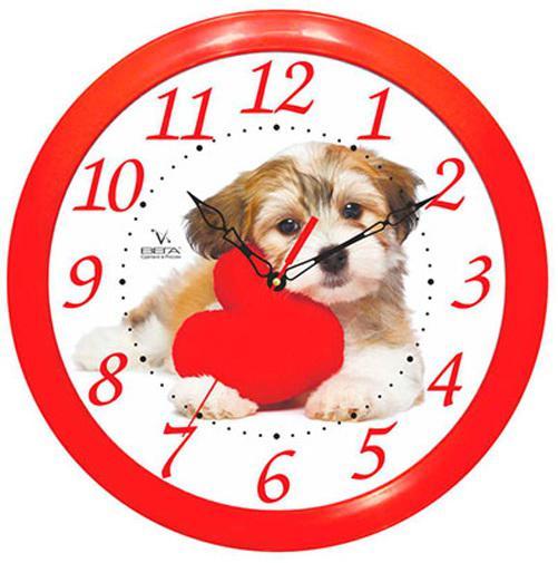 Часы настенные Вега Собака и Красное Сердце П 1-1/7-217 часы настенные вега п 4 14 7 86 новогодние подарки