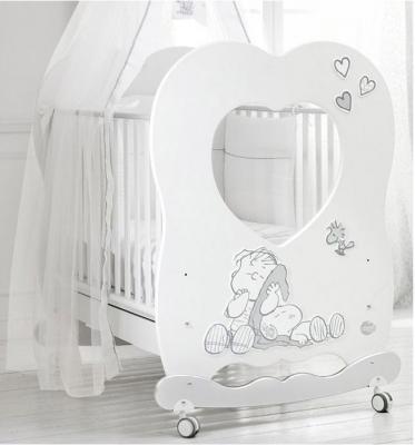 Купить Кроватка-качалка Baby Expert Snoopy Linus (белый/серебро), бук, Кроватки-качалки