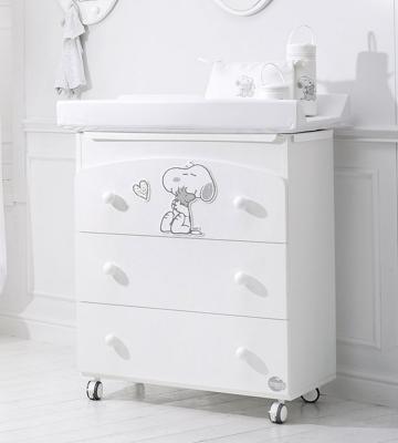 Комод пеленальный с ванночкой Baby Expert Snoopy (белый/серебро)